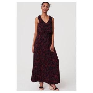 LOFT| Floral Ruffle Maxi Dress Tassel Tie Navy